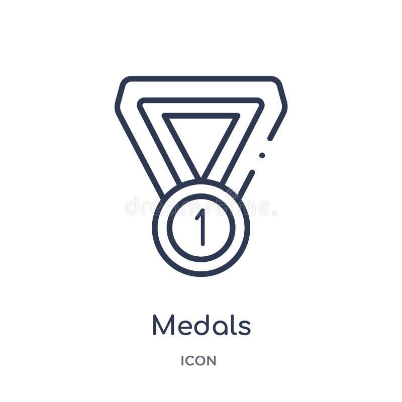 Linjär medaljsymbol från fotbollöversiktssamling Tunn linje medaljvektor som isoleras på vit bakgrund moderiktiga medaljer royaltyfri illustrationer