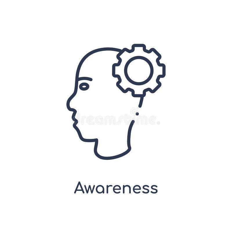 Linjär medvetenhetsymbol från välgörenhetöversiktssamling Tunn linje medvetenhetvektor som isoleras på vit bakgrund moderiktig me stock illustrationer