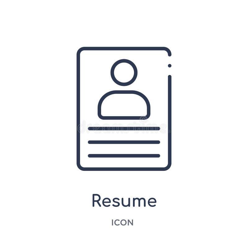Linjär meritförteckningsymbol från personalresursöversiktssamling Tunn linje meritförteckningsymbol som isoleras på vit bakgrund  royaltyfri illustrationer