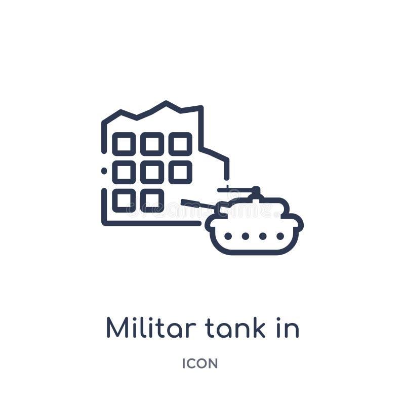 Linjär militar behållare i stadsgatasymbol från arméöversiktssamling Tunn linje militar behållare i stadsgatavektorn som isoleras royaltyfri illustrationer