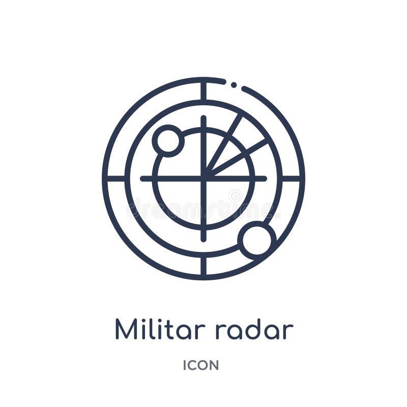 Linjär militar radarsymbol från armé- och krigöversiktssamling Tunn linje militar radarvektor som isoleras på vit bakgrund royaltyfri illustrationer