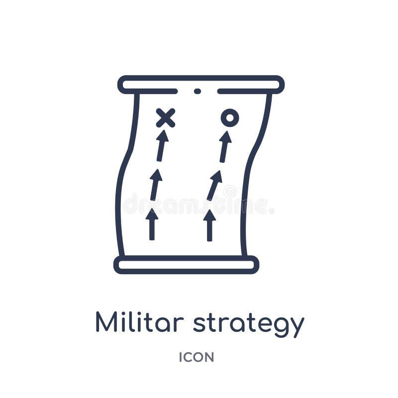 Linjär militar strategisymbol från arméöversiktssamling Tunn linje militar strategivektor som isoleras på vit bakgrund Militar vektor illustrationer