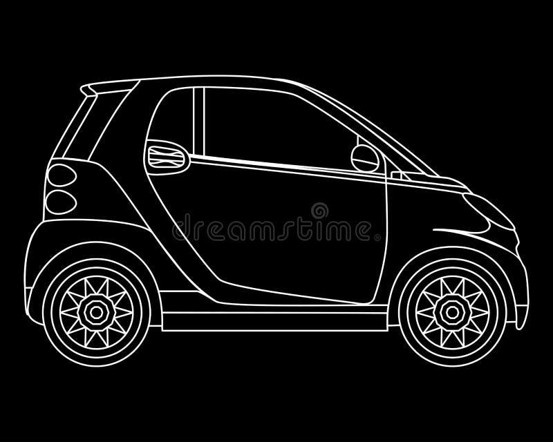 Linjär mini- bilvektor Isolerad minicar på mörk bakgrund Beskåda från sida royaltyfri illustrationer