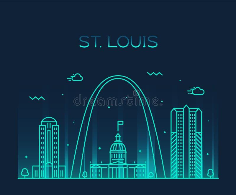 Linjär Missouri USA för St Louis stadshorisont vektor stock illustrationer