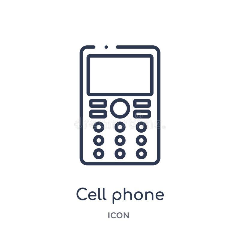 Linjär mobiltelefonsymbol från översiktssamling för elektroniska apparater Tunn linje mobiltelefonvektor som isoleras på vit bakg royaltyfri illustrationer