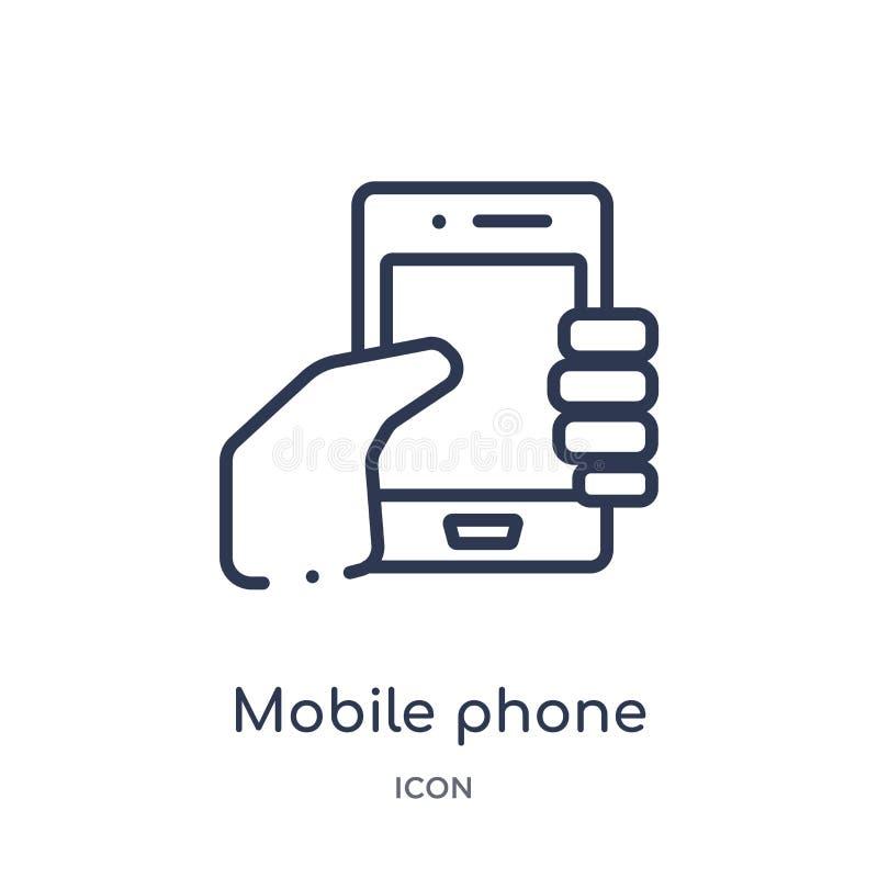 Linjär mobiltelefonsymbol från kundtjänstöversiktssamling Tunn linje mobiltelefonvektor som isoleras på vit bakgrund vektor illustrationer