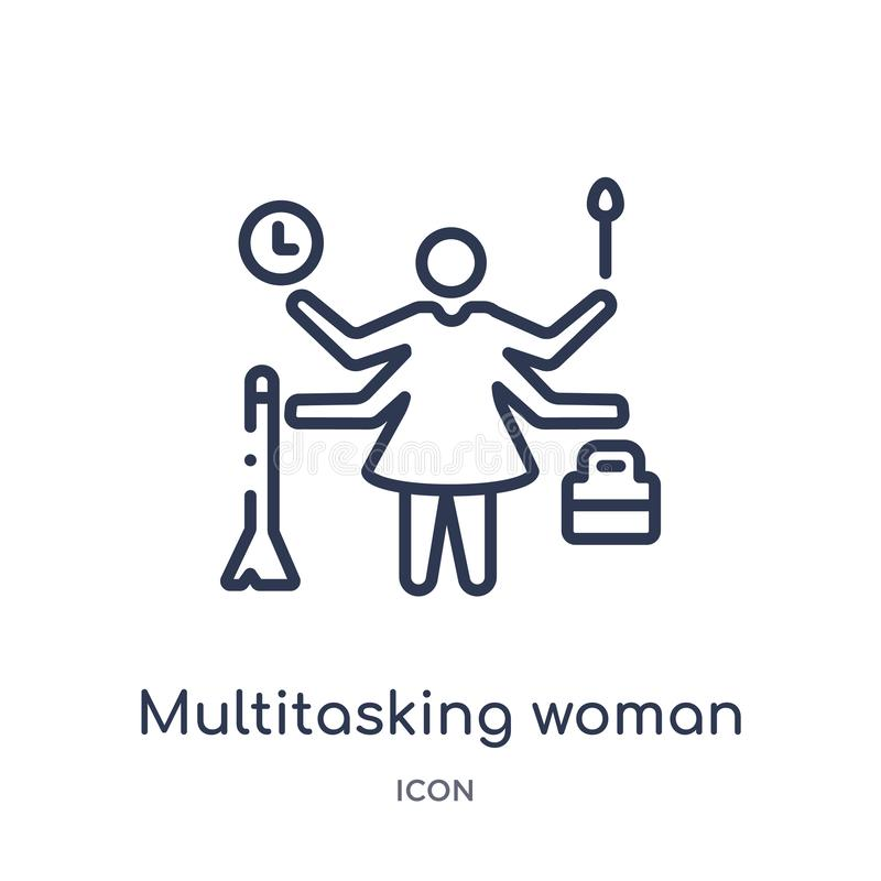 Linjär multitasking kvinnasymbol från affärsöversiktssamling Tunn linje multitasking kvinnasymbol som isoleras på vit bakgrund royaltyfri illustrationer