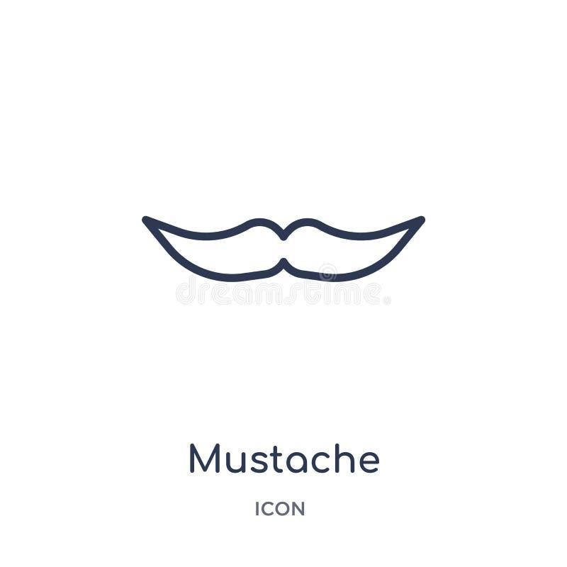 Linjär mustaschsymbol från samling för översikt för födelsedagparti Tunn linje mustaschvektor som isoleras på vit bakgrund mustas stock illustrationer