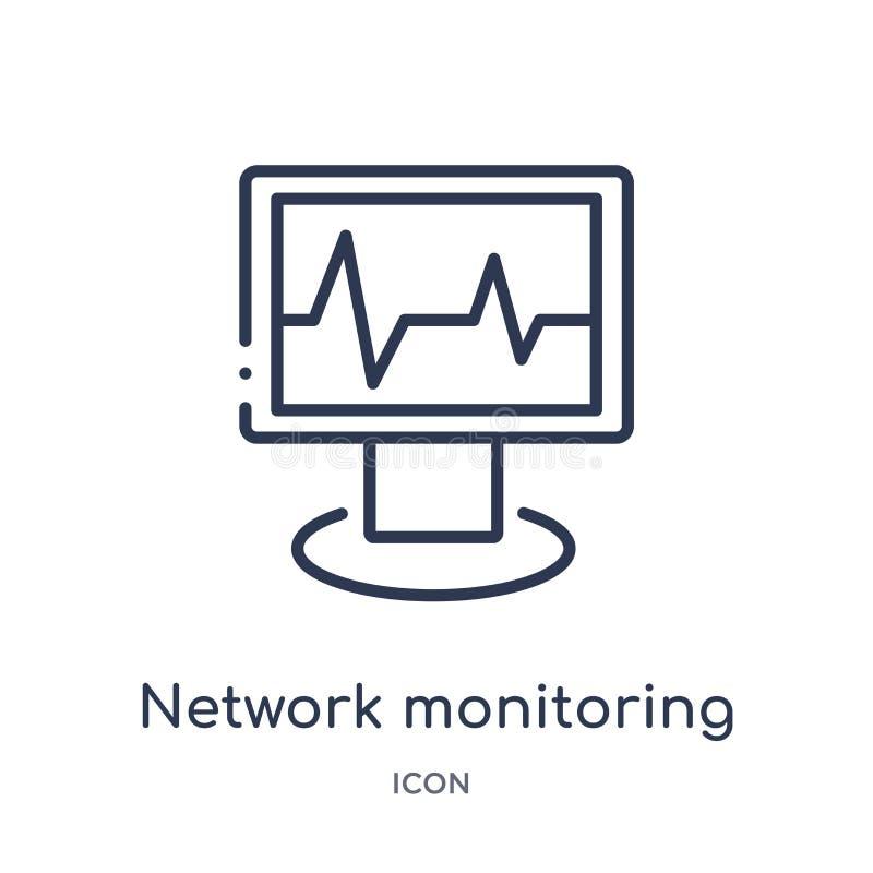 Linjär nätverksövervakningsymbol från säkerhet och att knyta kontakt för internet översiktssamlingen Tunn linje nätverksövervakni stock illustrationer