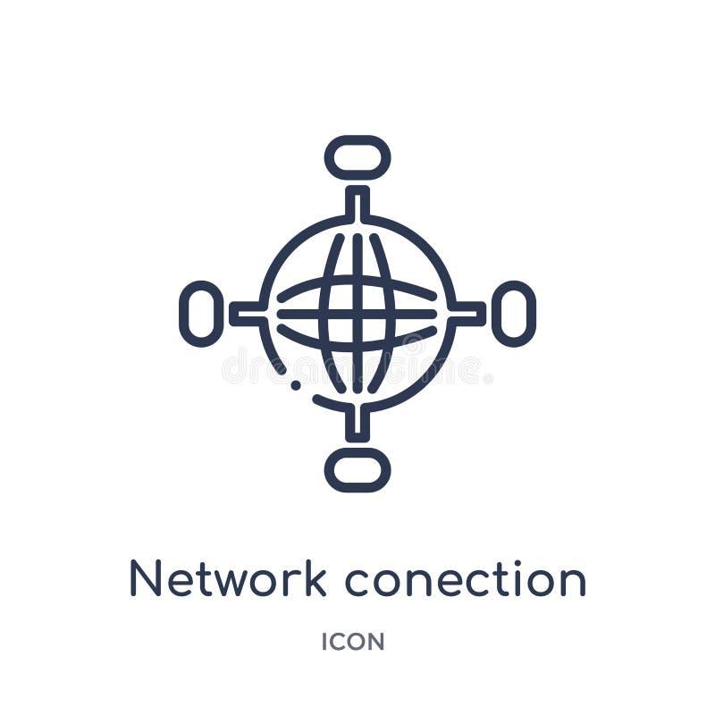 Linjär nätverksconectionsymbol från säkerhet och att knyta kontakt för internet översiktssamlingen Den tunna linjen nätverksconec vektor illustrationer