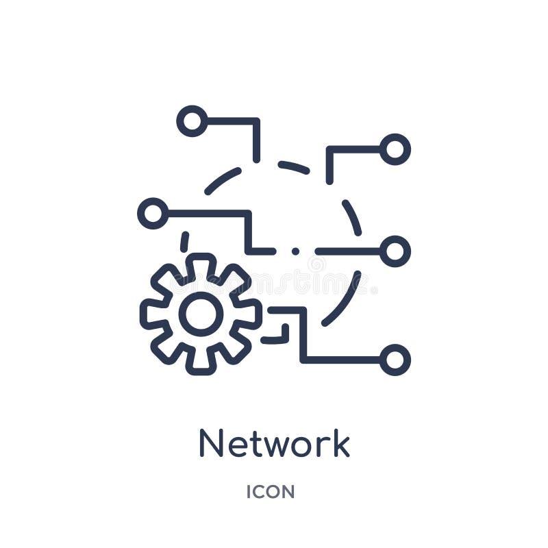 Linjär nätverksoptimizationsymbol från säkerhet och att knyta kontakt för internet översiktssamlingen Tunn linje nätverksoptimiza stock illustrationer