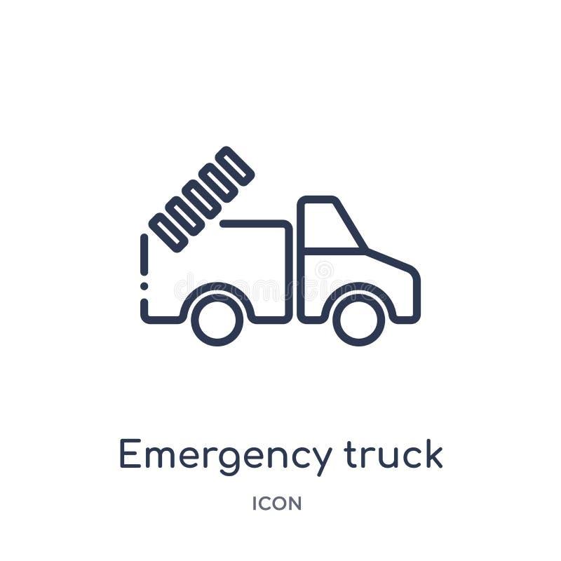 Linjär nöd- lastbilsymbol från samling för översikt för flygplatsterminal Tunn linje nöd- lastbilvektor som isoleras på vit vektor illustrationer
