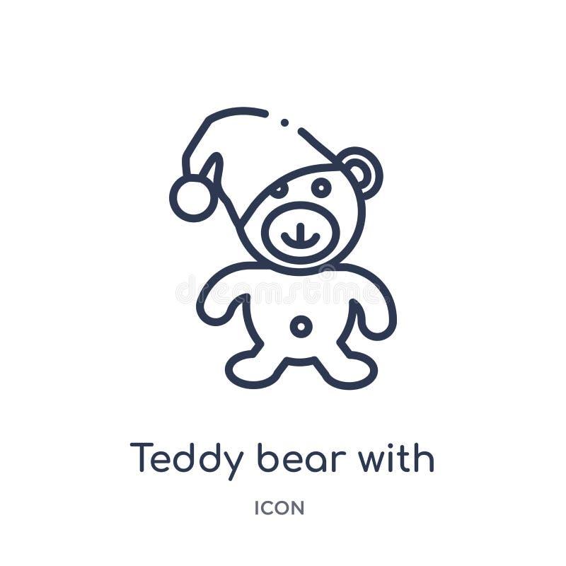 Linjär nallebjörn med sömnhattsymbolen från samling för allmän översikt Tunn linje nallebjörn med sömnhattsymbolen som isoleras p stock illustrationer