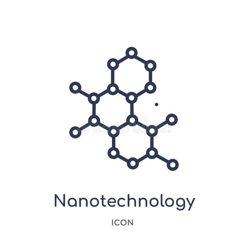 Linjär nanotekniksymbol från den framtida teknologiöversiktssamlingen Tunn linje nanotekniksymbol som isoleras på vit bakgrund vektor illustrationer
