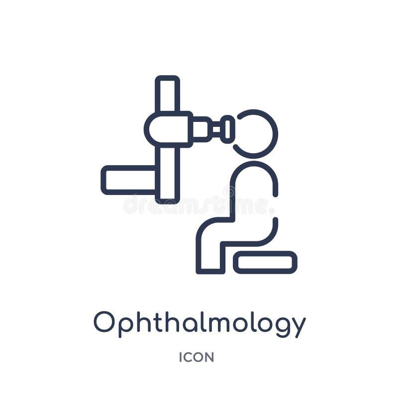 Linjär oftalmologisymbol från vård- och medicinsk översiktssamling Tunn linje oftalmologisymbol som isoleras på vit bakgrund royaltyfri illustrationer