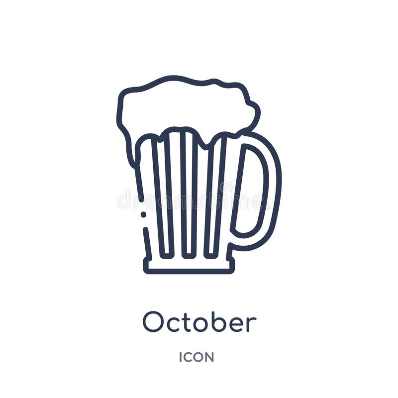 Linjär oktober symbol från alkoholöversiktssamling Tunn linje oktober vektor som isoleras på vit bakgrund moderiktiga oktober vektor illustrationer