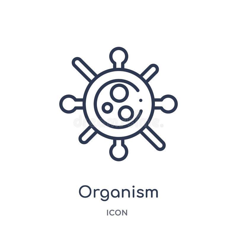 Linjär organismsymbol från samling för allmän översikt Tunn linje organismsymbol som isoleras på vit bakgrund moderiktig organism royaltyfri illustrationer
