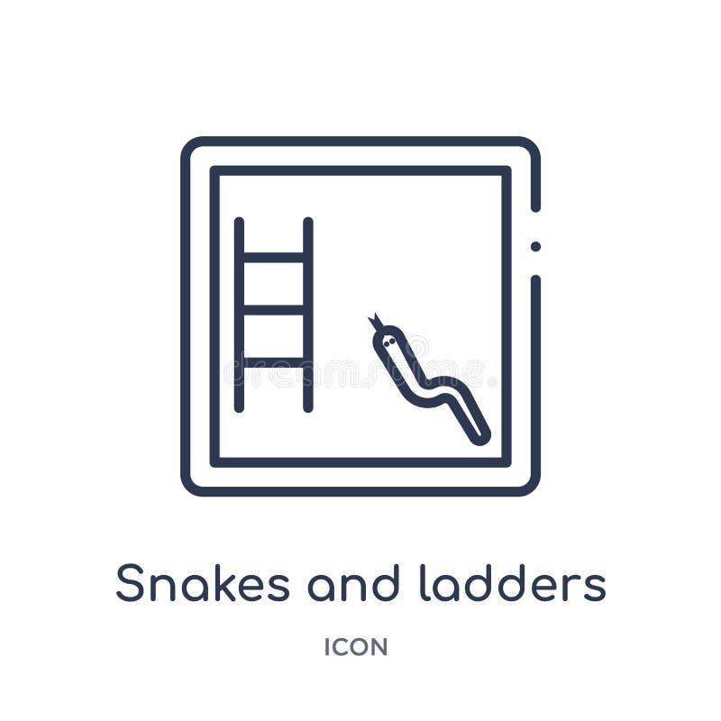 Linjär ormar och stegesymbol från underhållningöversiktssamling Tunn linje ormar och stegesymbol som isoleras på vit stock illustrationer