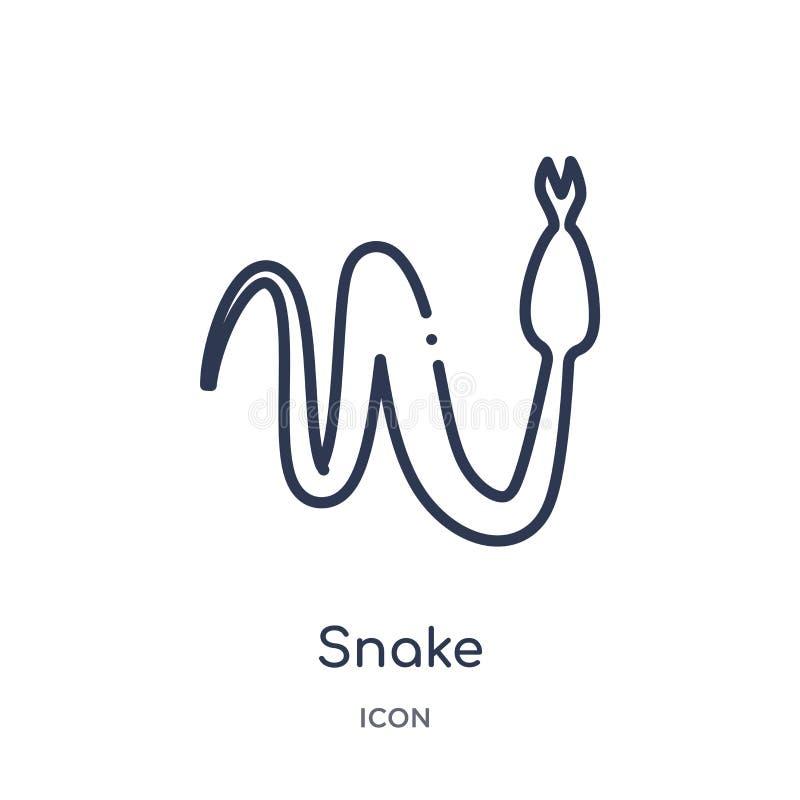 Linjär ormsymbol från ökenöversiktssamling Tunn linje ormvektor som isoleras på vit bakgrund moderiktig illustration för orm stock illustrationer