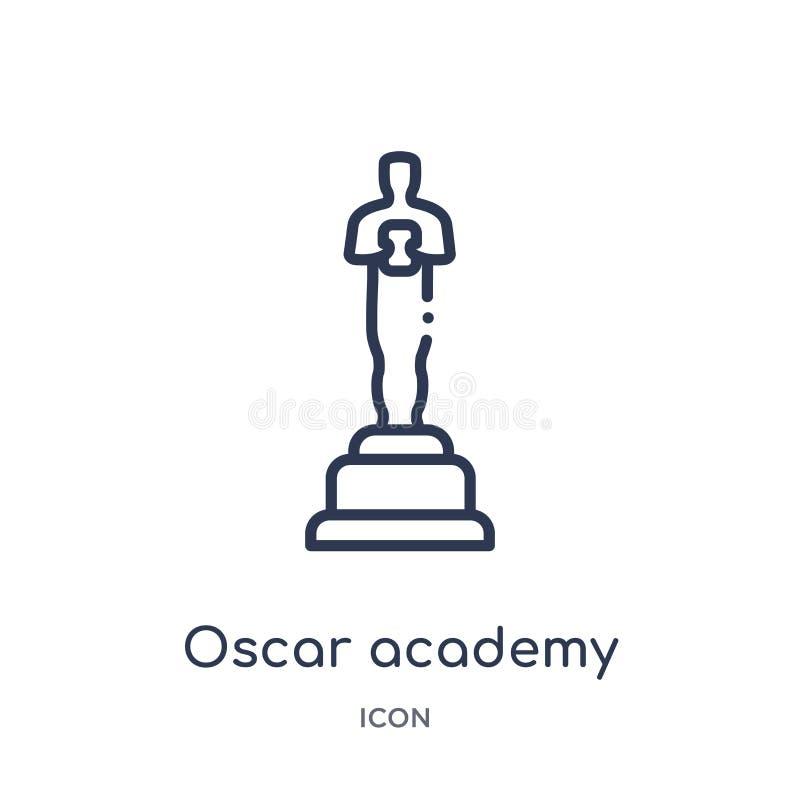 Linjär oscar Oscarsymbol från bioöversiktssamling Tunn linje oscar Oscarsymbol som isoleras på vit bakgrund royaltyfri illustrationer