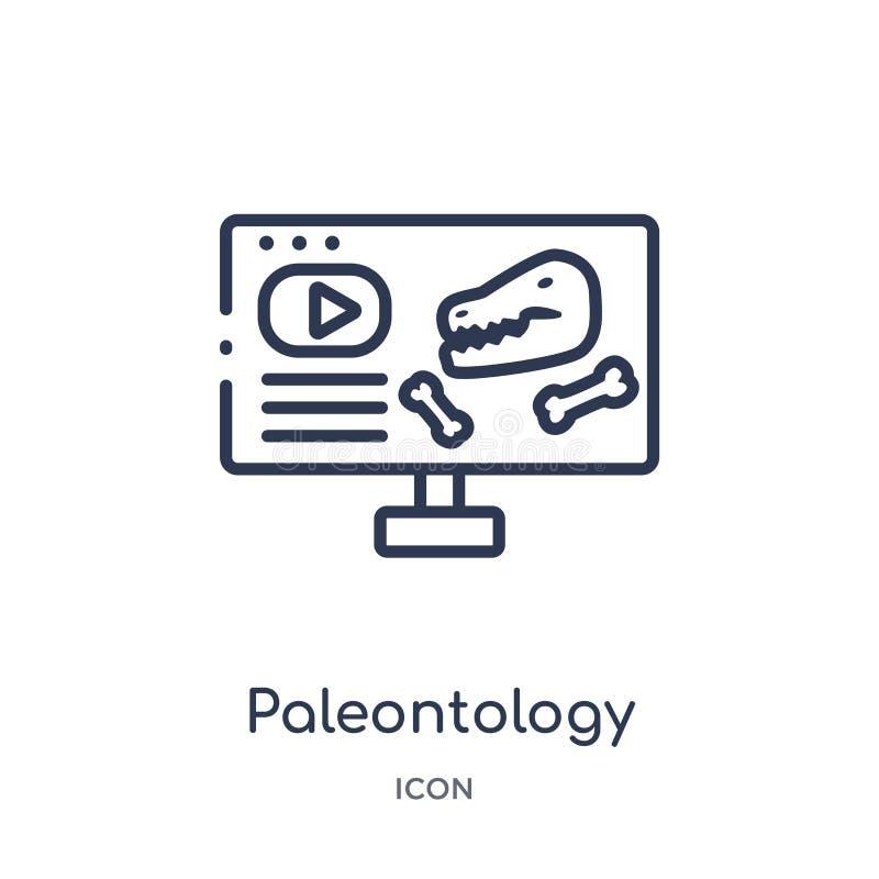 Linjär paleontologisymbol från elearning- och utbildningsöversiktssamling Tunn linje paleontologivektor som isoleras på vit stock illustrationer