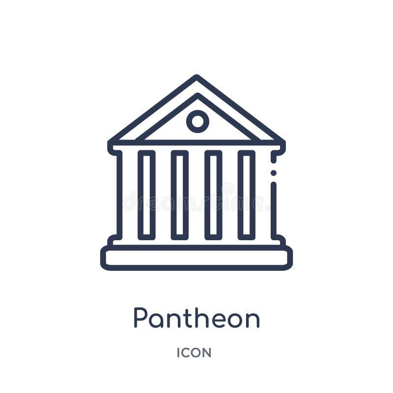 Linjär panteonsymbol från historieöversiktssamling Tunn linje panteonsymbol som isoleras på vit bakgrund moderiktig panteon royaltyfri illustrationer