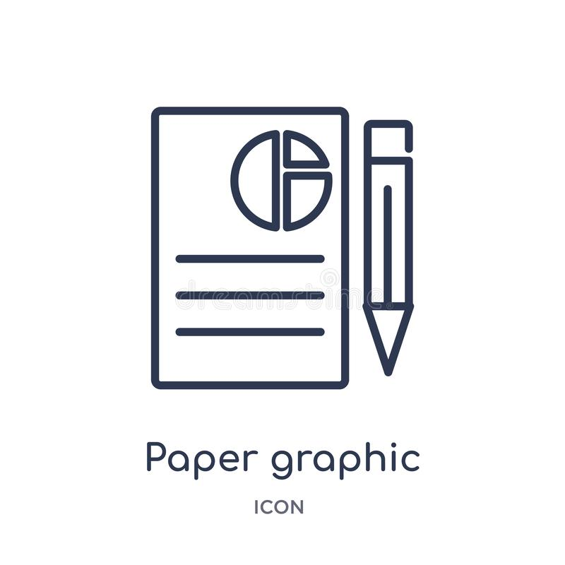 Linjär pappers- grafisk symbol från affärsöversiktssamling Tunn linje grafisk symbol för papper som isoleras på vit bakgrund Papp vektor illustrationer