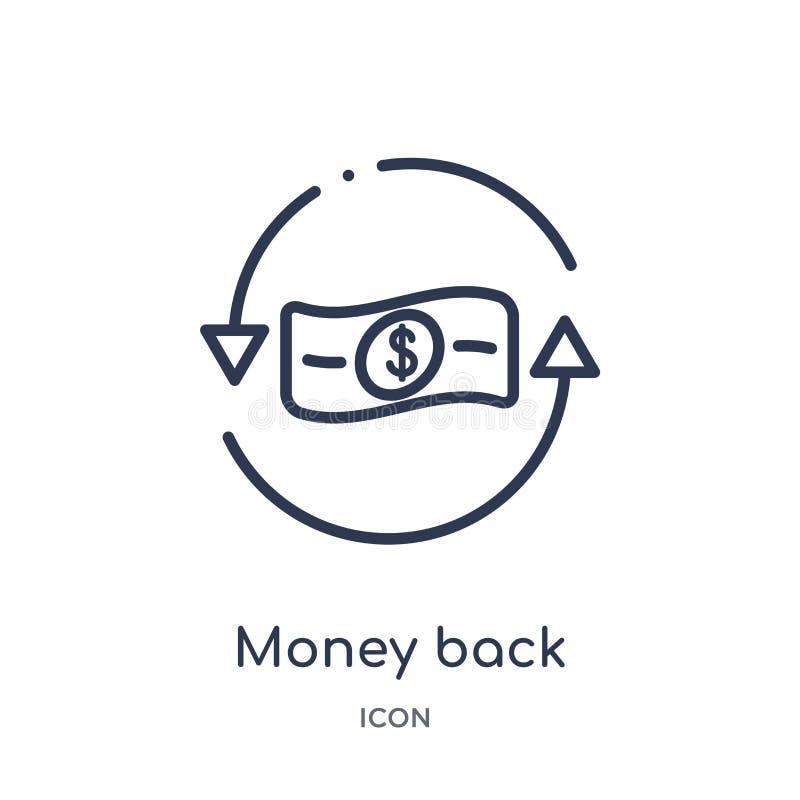 Linjär pengarbaksidasymbol från affärs- och finansöversiktssamling Tunn linje pengarbaksidasymbol som isoleras på vit bakgrund pe stock illustrationer