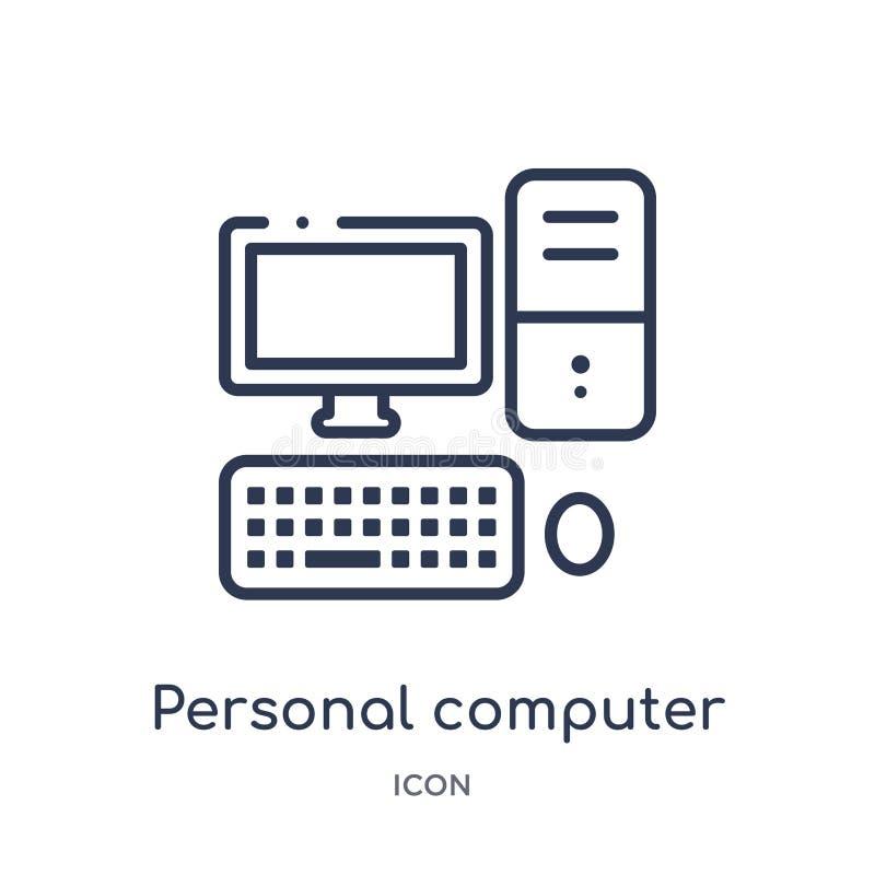 Linjär persondatorsymbol från översiktssamling för elektroniska apparater Tunn linje persondatorvektor som isoleras på vit stock illustrationer