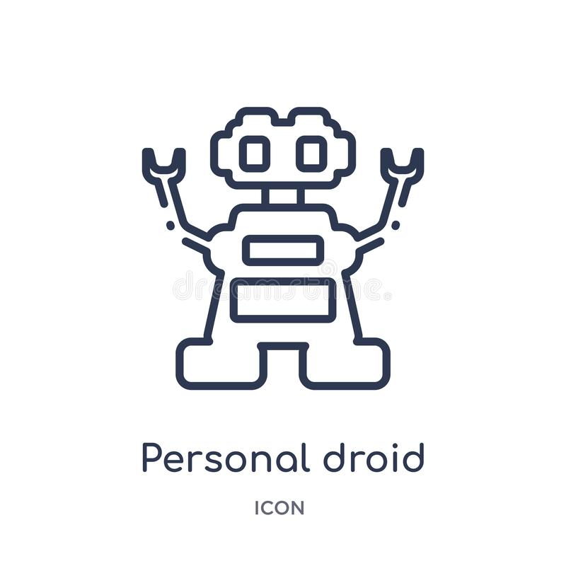 Linjär personlig droidsymbol från konstgjord intellegence och den framtida teknologiöversiktssamlingen Tunn linje personlig droid vektor illustrationer