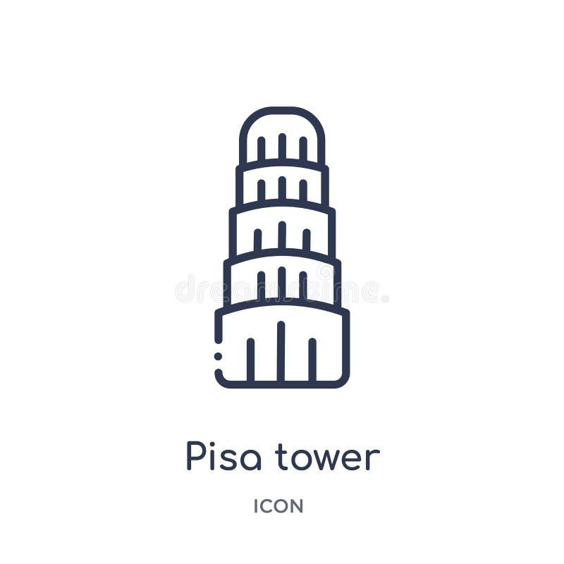 Linjär pisa tornsymbol från byggnadsöversiktssamling Tunn linje pisa tornvektor som isoleras på vit bakgrund Pisa torn stock illustrationer