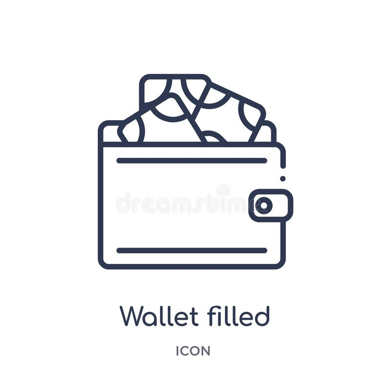 Linjär plånbok fylld pengarhjälpmedelsymbol från kommersöversiktssamling Den tunna linjen plånbok fyllde pengarhjälpmedelsymbolen royaltyfri illustrationer