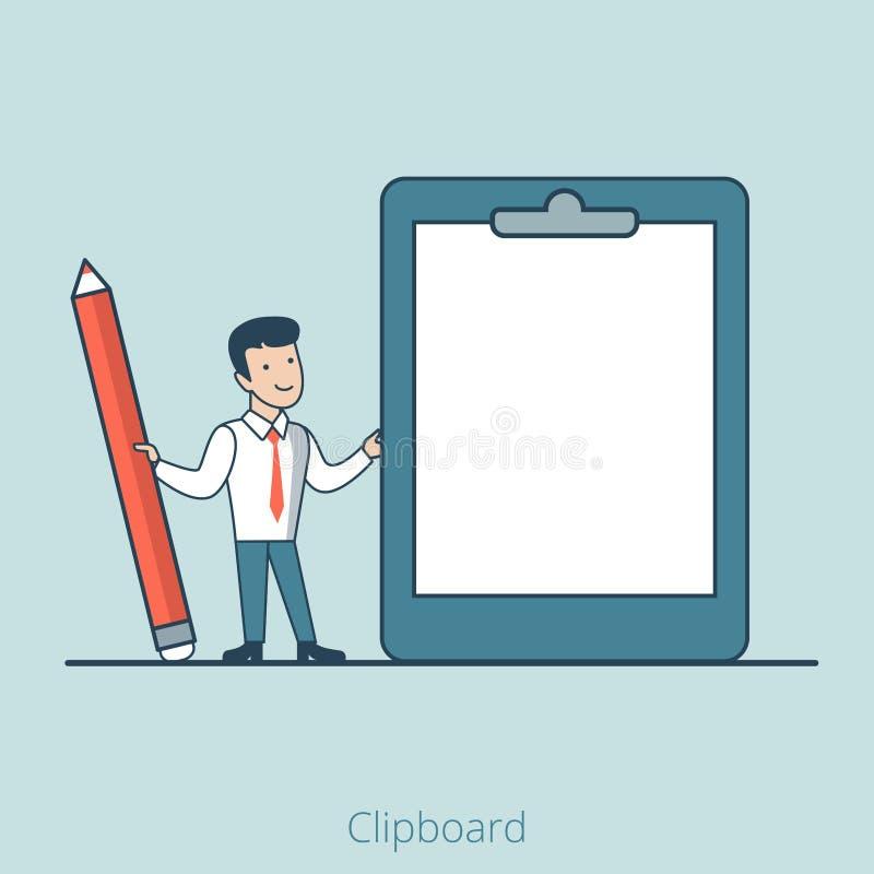 Linjär plan blyertspenna för skrivplatta för affärsman tom royaltyfri illustrationer