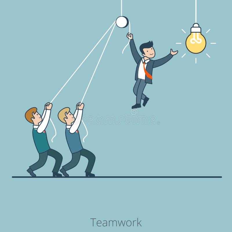 Linjär plan håll en för affärsmän ändrar lampan vektor illustrationer