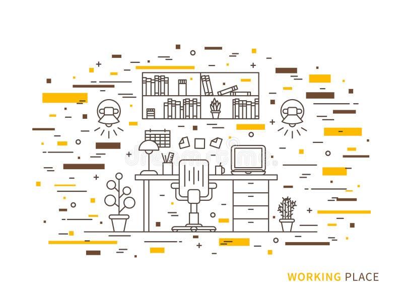Linjär plan illustration för inredesign av den moderna märkes- arbetsplatsen royaltyfri illustrationer