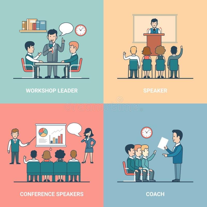 Linjär plan lagledare Leader för affärsutbildningshögtalare royaltyfri illustrationer