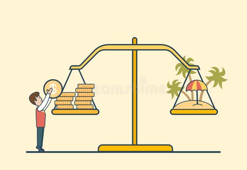 Linjär plan myntöskala, manlibravektor stock illustrationer