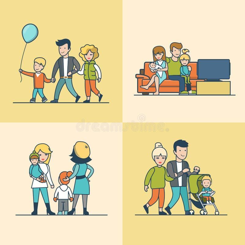 Linjär plan vektor för ballong för familjTVsoffa royaltyfri illustrationer
