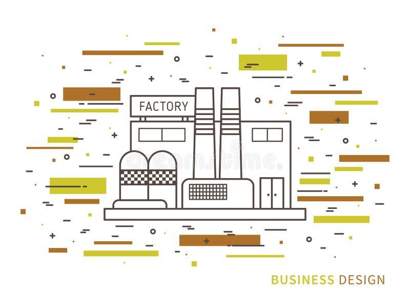 Linjär plan yttre designillustration av fabriken stock illustrationer