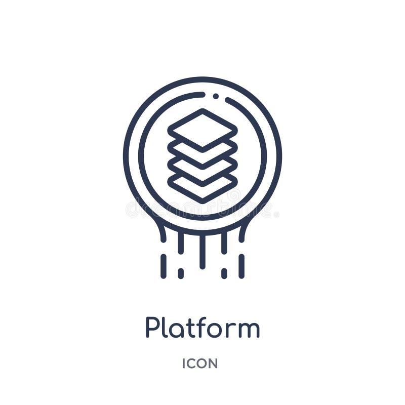Linjär plattformsymbol från logoöversiktssamling Tunn linje plattformsymbol som isoleras på vit bakgrund moderiktig plattform royaltyfri illustrationer