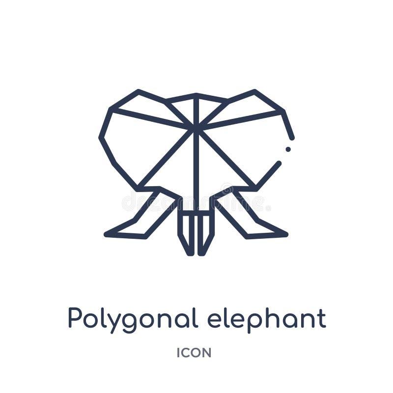 Linjär polygonal elefantsymbol från geometriöversiktssamling Tunn linje polygonal elefantsymbol som isoleras på vit bakgrund royaltyfri illustrationer