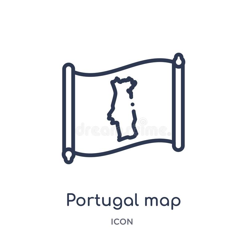 Linjär Portugal översiktssymbol från Countrymaps översiktssamling Tunn linje Portugal översiktsvektor som isoleras på vit bakgrun vektor illustrationer