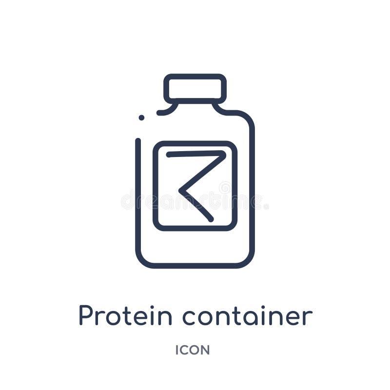 Linjär proteinbehållaresymbol från matöversiktssamling Tunn linje proteinbehållaresymbol som isoleras på vit bakgrund protein royaltyfri illustrationer