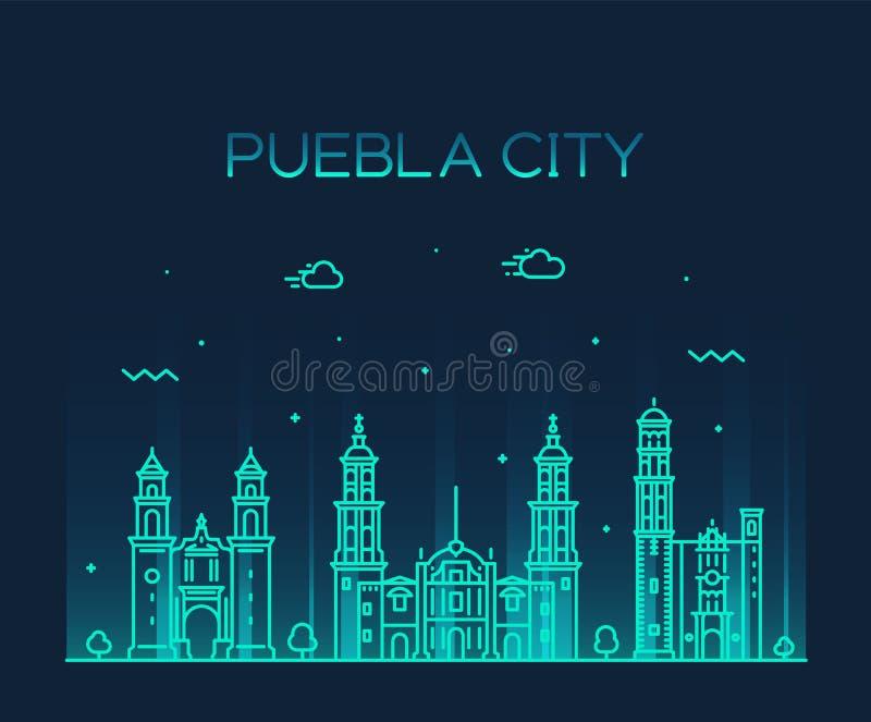 Linjär Puebla Mexico för Puebla stadshorisont vektor royaltyfri illustrationer
