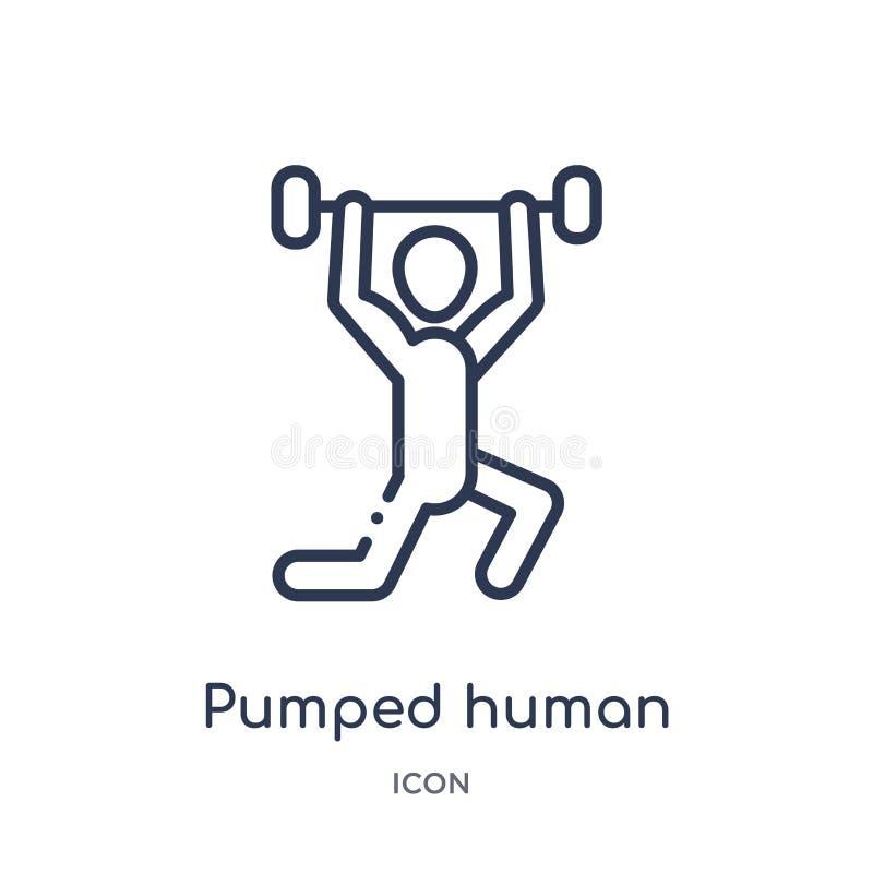 Linjär pumpad mänsklig symbol från känslaöversiktssamling Den tunna linjen pumpade den mänskliga vektorn som isolerades på vit ba royaltyfri illustrationer