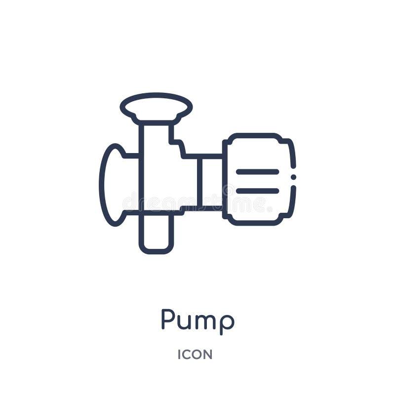 Linjär pumpsymbol från branschöversiktssamling Tunn linje pumpsymbol som isoleras på vit bakgrund moderiktig illustration för pum vektor illustrationer