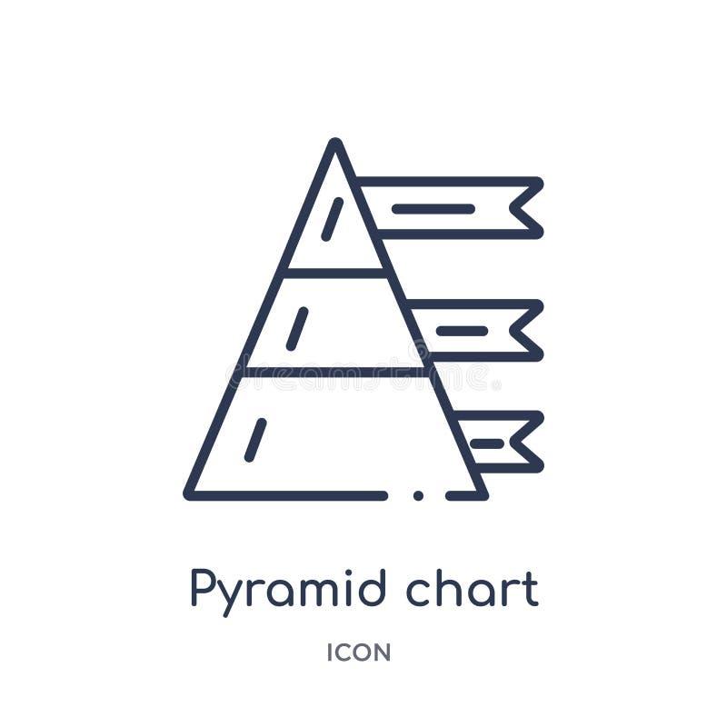 Linjär pyramiddiagramsymbol från Analyticsöversiktssamling Tunn linje pyramiddiagramvektor som isoleras på vit bakgrund pyramid royaltyfri illustrationer