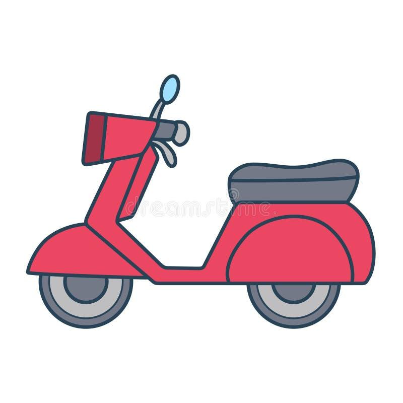 Linjär röd motorcykel på vit bakgrund stock illustrationer