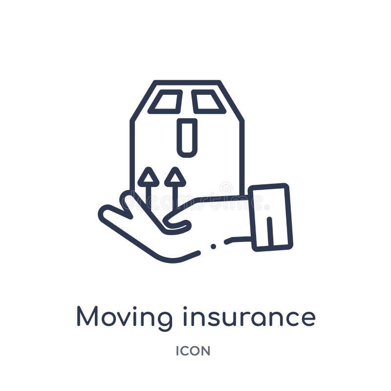 Linjär rörande försäkringsymbol från försäkringöversiktssamling Tunn linje flyttande försäkringsymbol som isoleras på vit bakgrun royaltyfri illustrationer