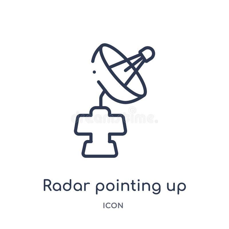 Linjär radar som pekar upp symbol från astronomiöversiktssamling Tunn linje radar som pekar upp vektorn som isoleras på vit bakgr royaltyfri illustrationer